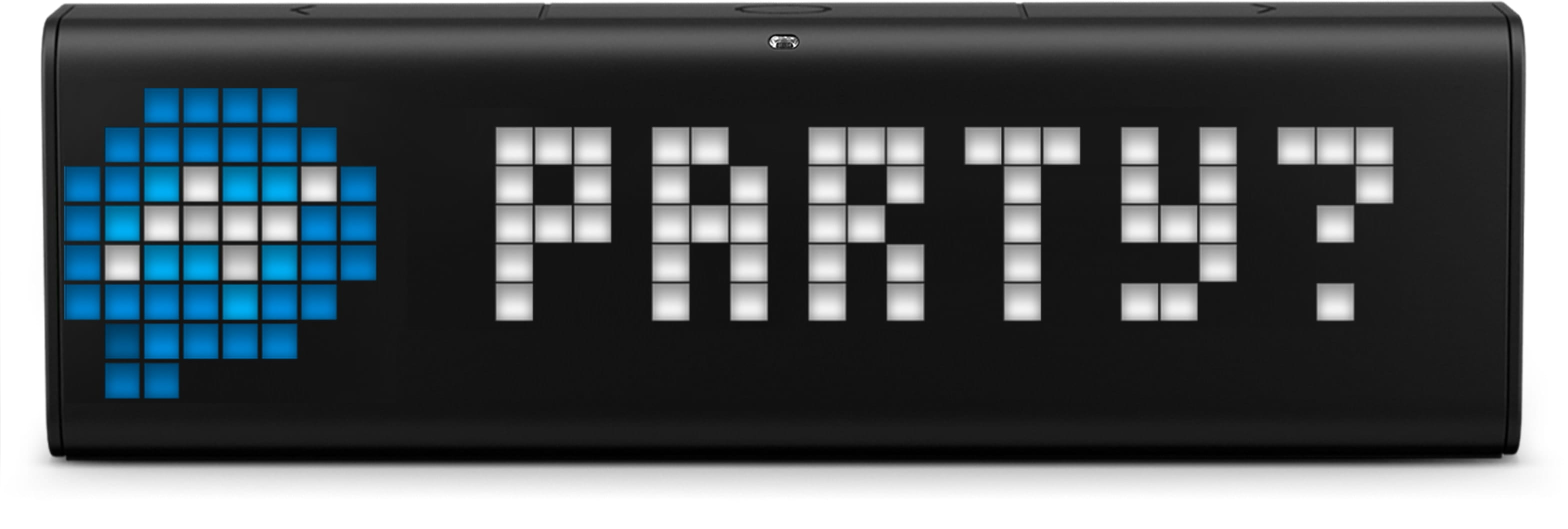 "LaMetric Time smart clock displays the incoming Facebook message ""party?"""