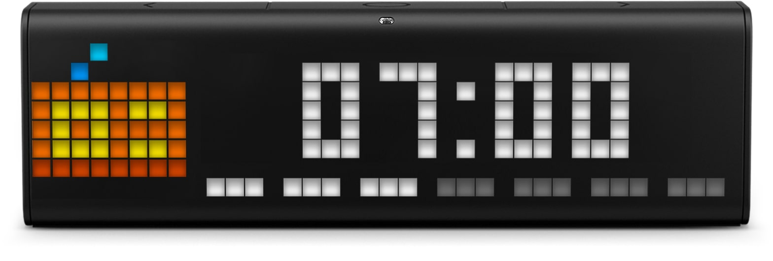 LaMetric Time smart clock shows time and internet radio clock face