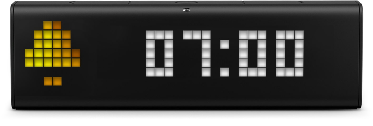 LaMetric Time digital clock has set the alarm for 7 AM by voice via Google Assistant