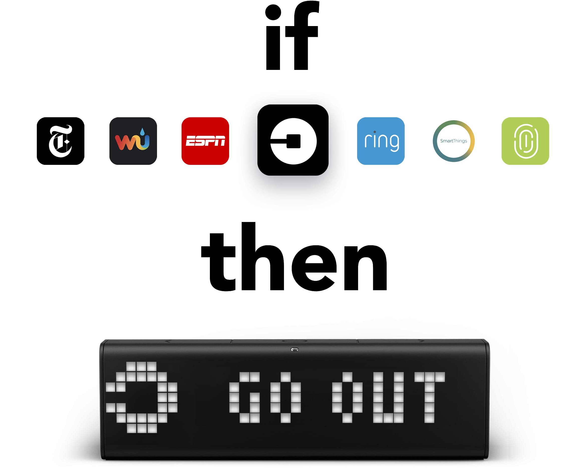 "LaMetric Time smart clock's integration with IFTTT displaying a message ""Go Out"" after you ordered Uber and a car has arrived"