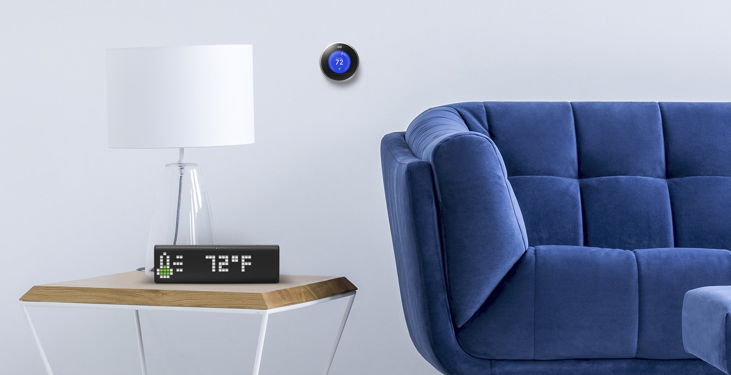 LaMetric Time smart clock, which is located in the living room, shows the indoor temperature from Nest Thermostat
