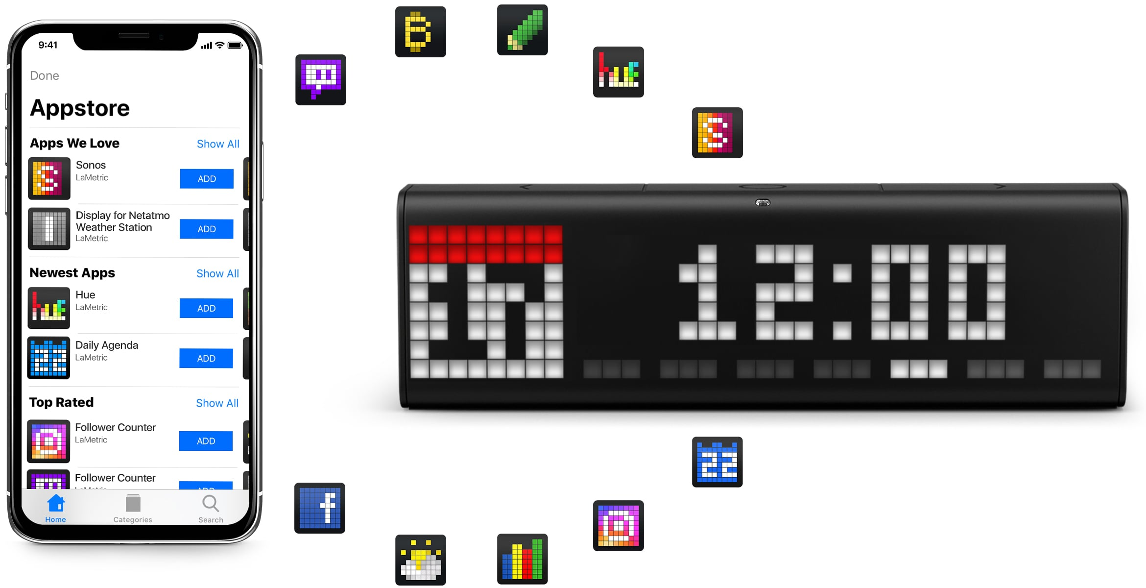 LaMetric Time digital clock displays time and the current date as a clock face and iPhone shows product appstore