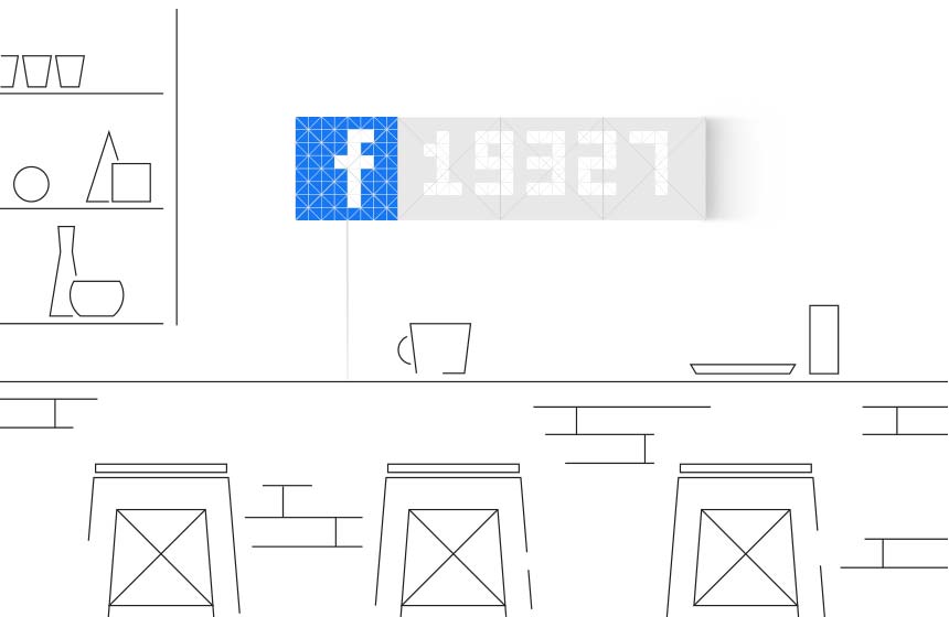Infoscreen, assembled from 16 LaMetric SKY smart light surfaces, placed in the cafe, displays Facebook like counter