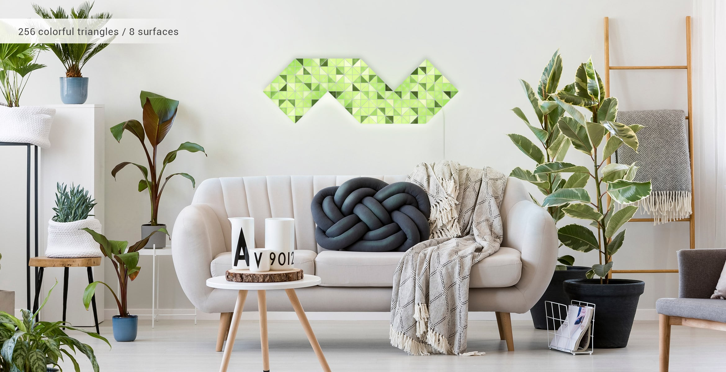 Snake shape, assembled from 8 LaMetric SKY smart light surfaces, in a stylish living room