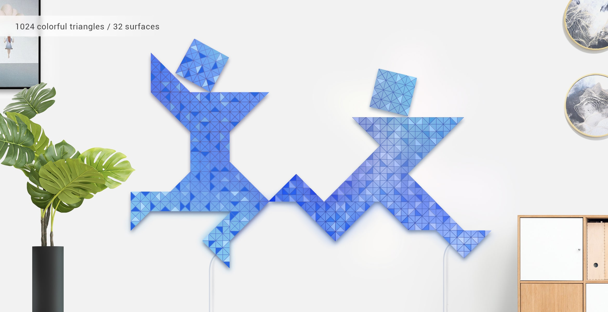 Two-people shape, assembled from 32 smart light surfaces, in impressive Tangram art style, complements room's interior