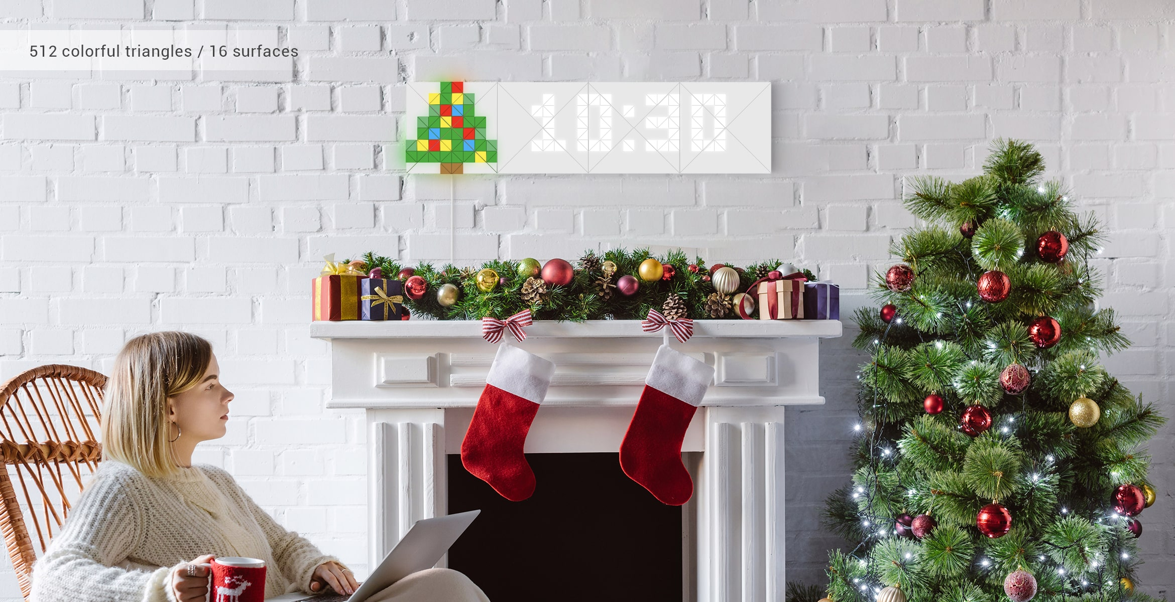 Infoscreen shape, assembled from 16 smart light surfaces, displays time and Christmas tree Sky face complementing room interior