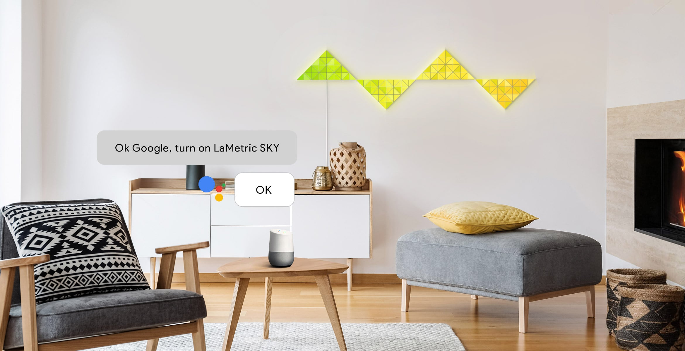 Voice control of LaMetric SKY smart light surfaces, assembled into the reflection shape, via Google Assistant