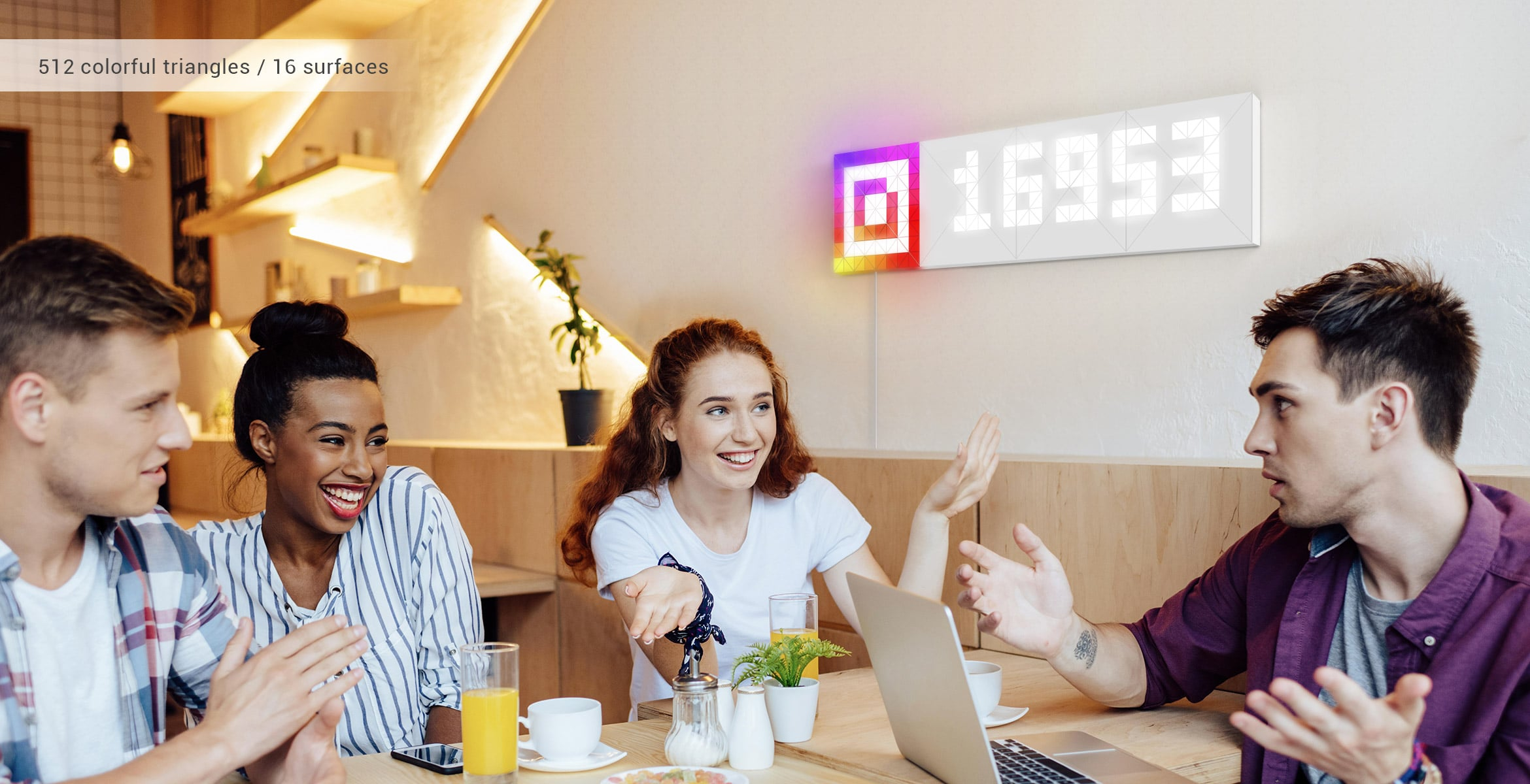Infoscreen, assembled from 16 smart light surfaces, complements the cafe's interior and displays follower count for Instagram