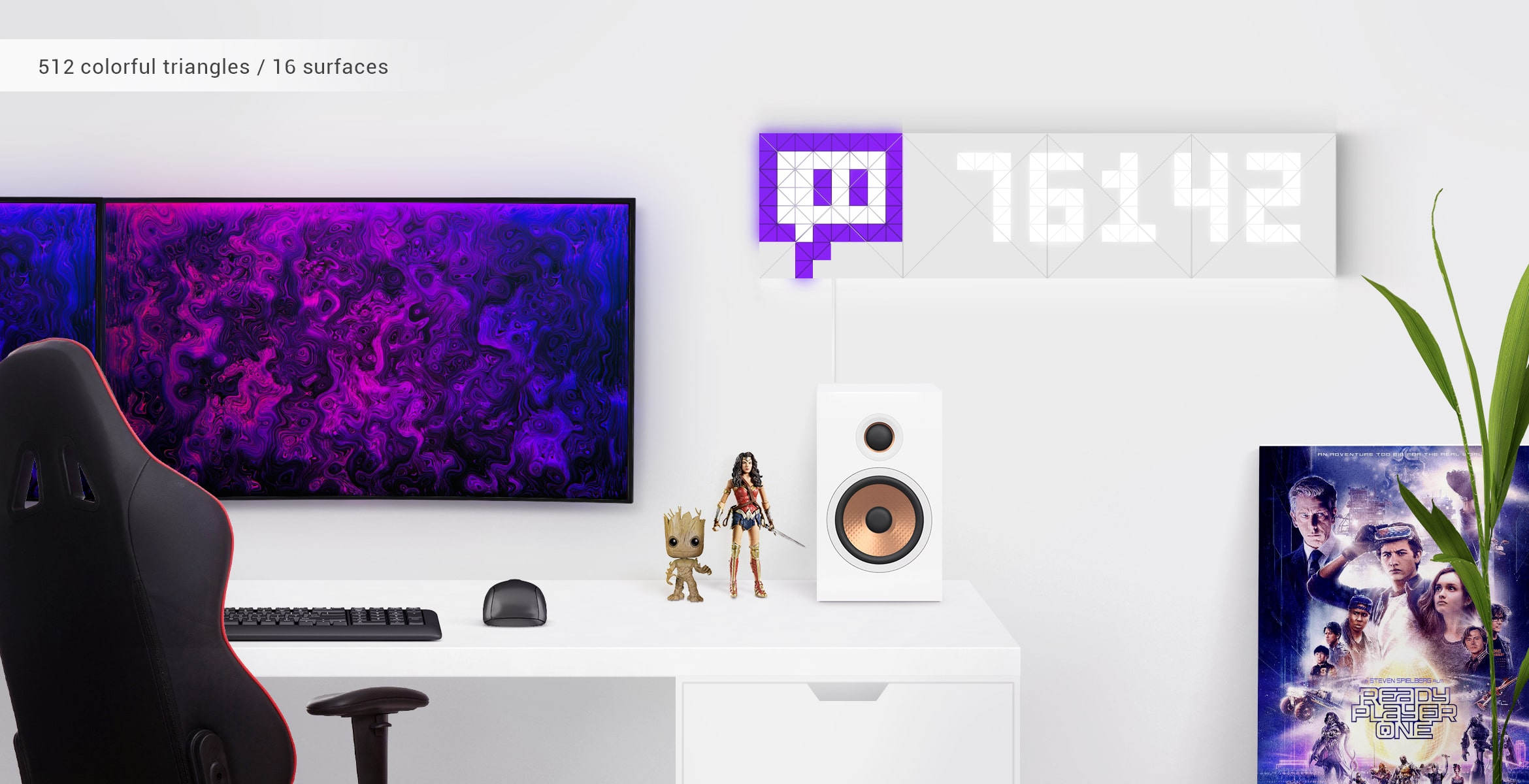 Infoscreen, assembled from 16 smart light surfaces, complements gamer's desk setup and displays  Twitch viewers amount