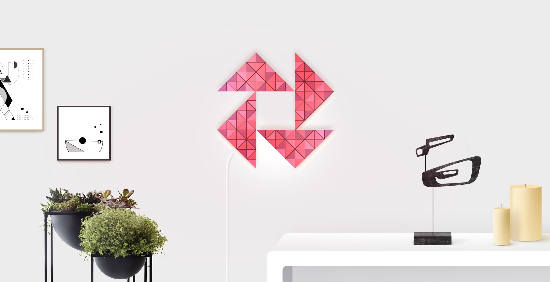 Star shape in red colour, assembled from 4 LaMetric SKY smart light surfaces, complements the room interior