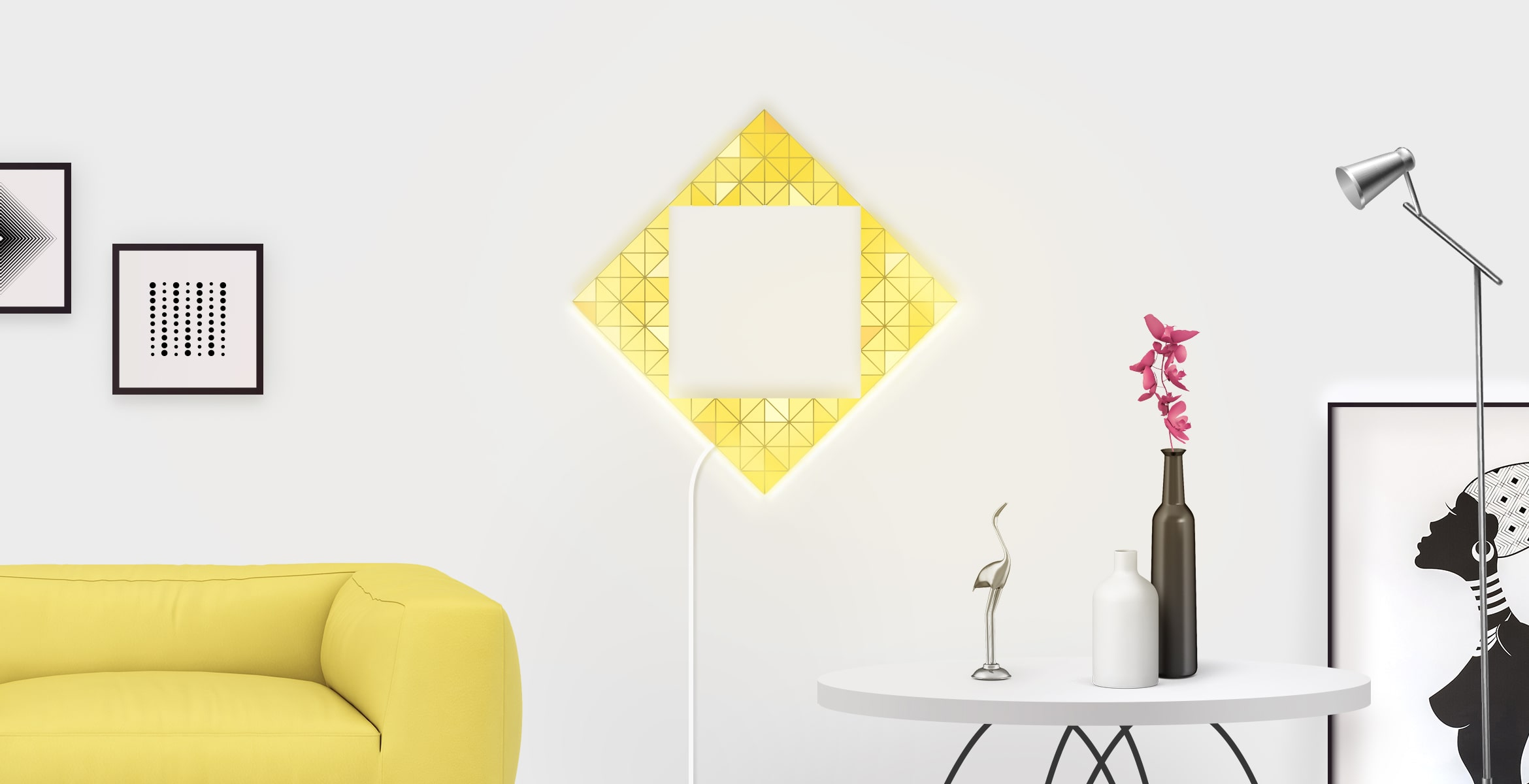 Magic portal shape in yellow colour, assembled from 4 LaMetric SKY smart light surfaces, placed in a stylish living room