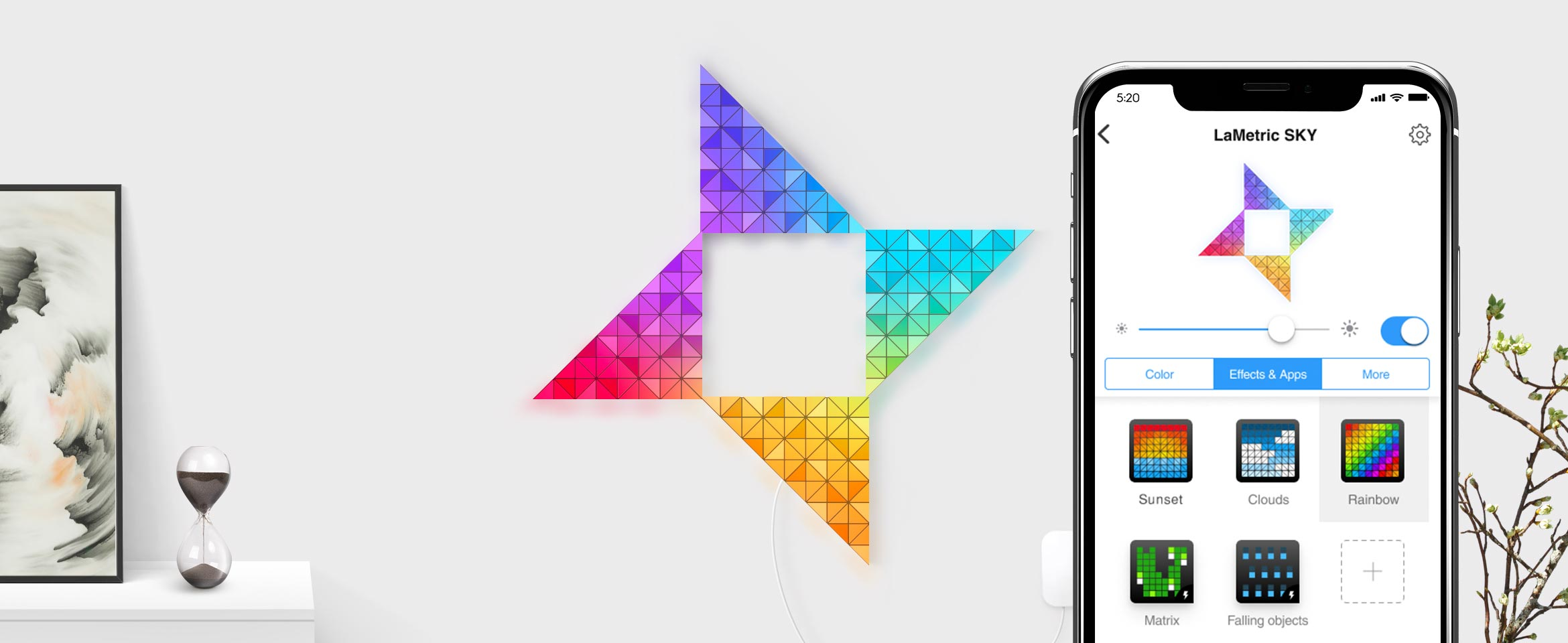 Butterfly shape, assembled from 4 smart light surfaces, expresses rainbow and iPhone shows different light effects in SKY app