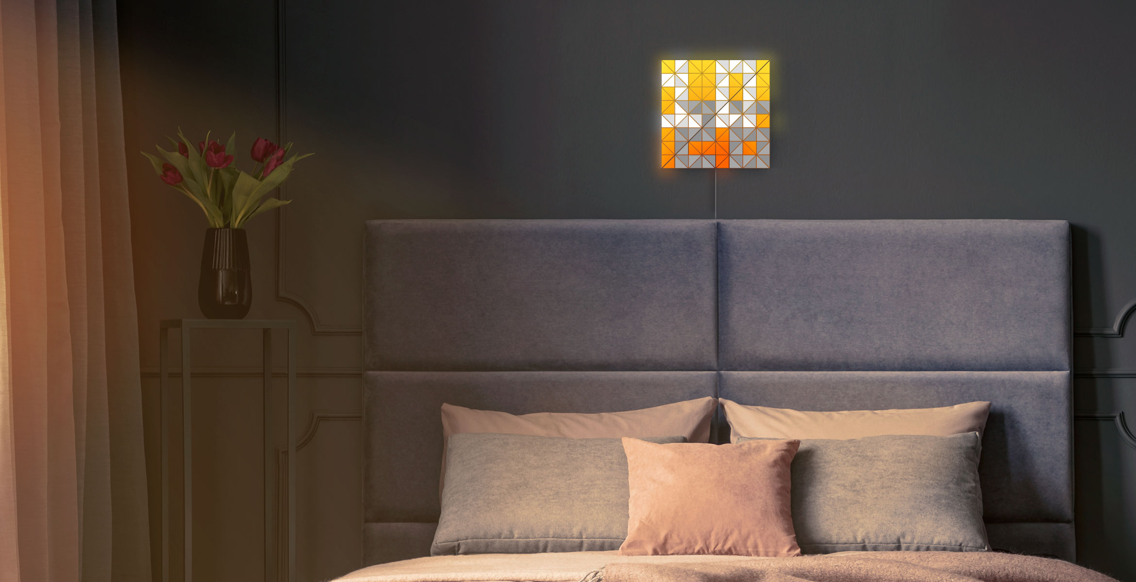 SKY face shape, assembled from 2 smart light surfaces, displays time and complements bedroom's interior