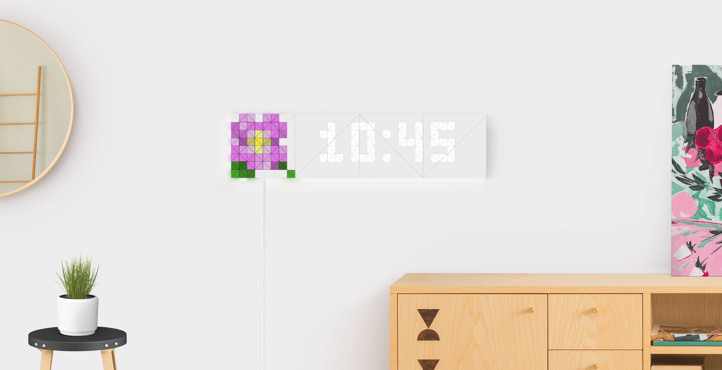 Infoscreen shape, assembled from 16 LaMetric SKY smart light surfaces, displays time and flower Sky face