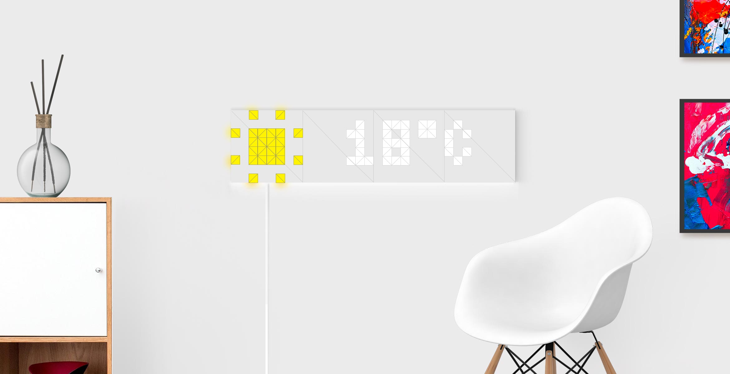 Infoscreen shape, assembled from 16 smart light surfaces, displays time and sun as a Sky face