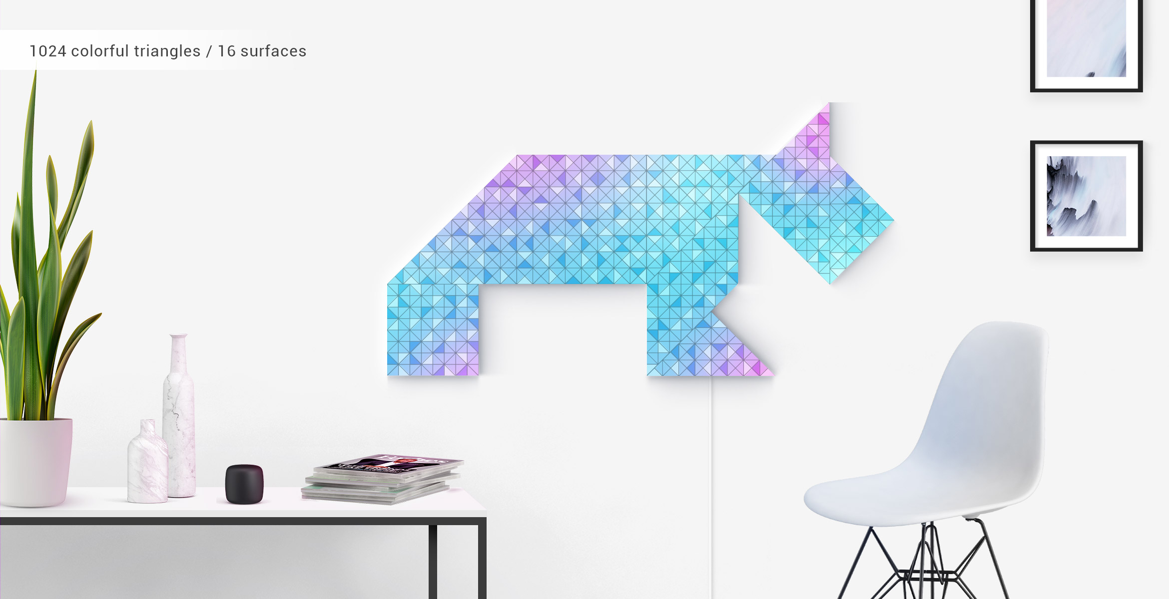 Dog shape, assembled from 12 LaMetric SKY smart light surfaces, in impressive Tangram art style, complements the room interior