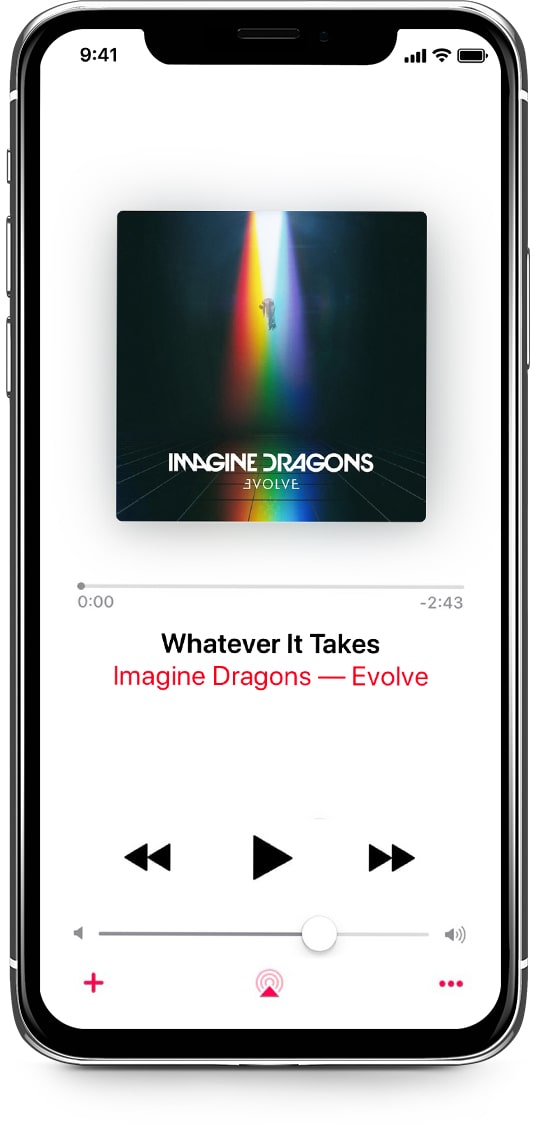 "An iPhone shows ""Imagine Dragons - Believer"" song in the Apple Music app, which is streamed on LaMetric Time"