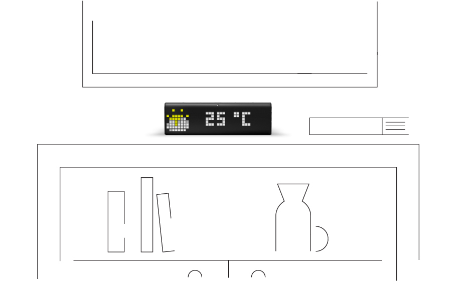 LaMetric Time smart clock, placed on the shelf, shows the current weather