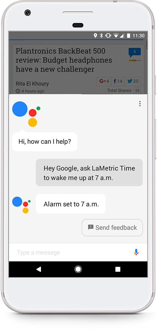 An iPhone shows the process of setting alarm for 7 AM at LaMetric Time smart clock via Google Assistant