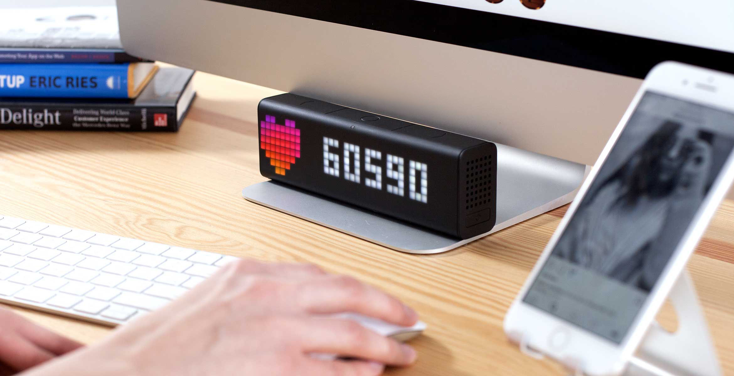 LaMetric Time smart clock complements the desk setup and displays follower count for your Instagram account