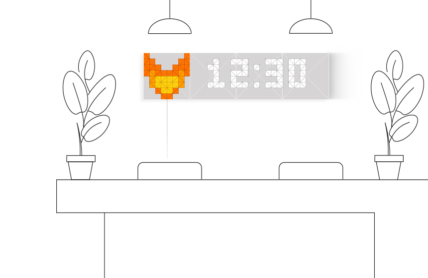Infoscreen, assembled from 16 LaMetric SKY smart light surfaces, placed in the office, displays current time and company logo