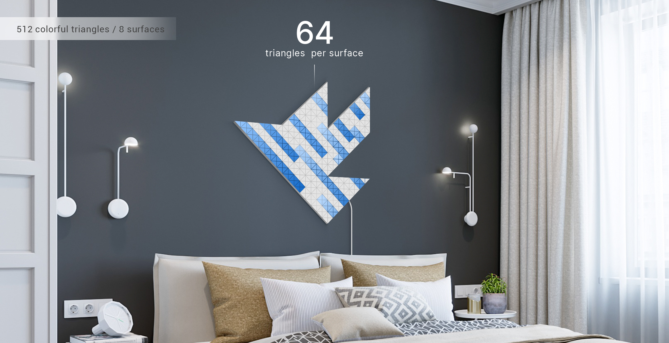 Bird shape in blue colour assembled from 8 LaMetric SKY smart light surfaces with a rain light effect, complements the room interior