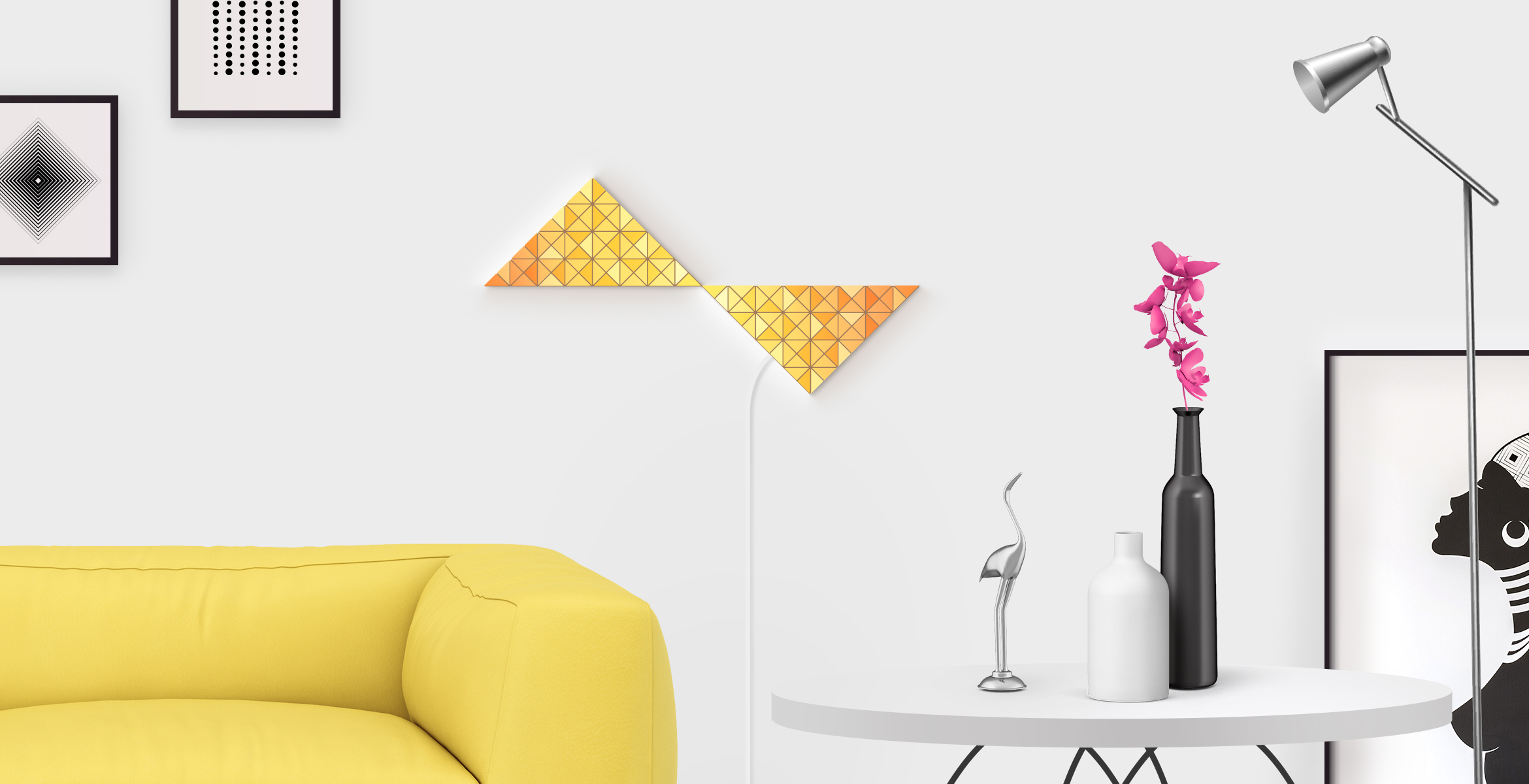 Inversion shape in yellow color, assembled from 2 LaMetric SKY smart light surfaces, placed in a stylish living room