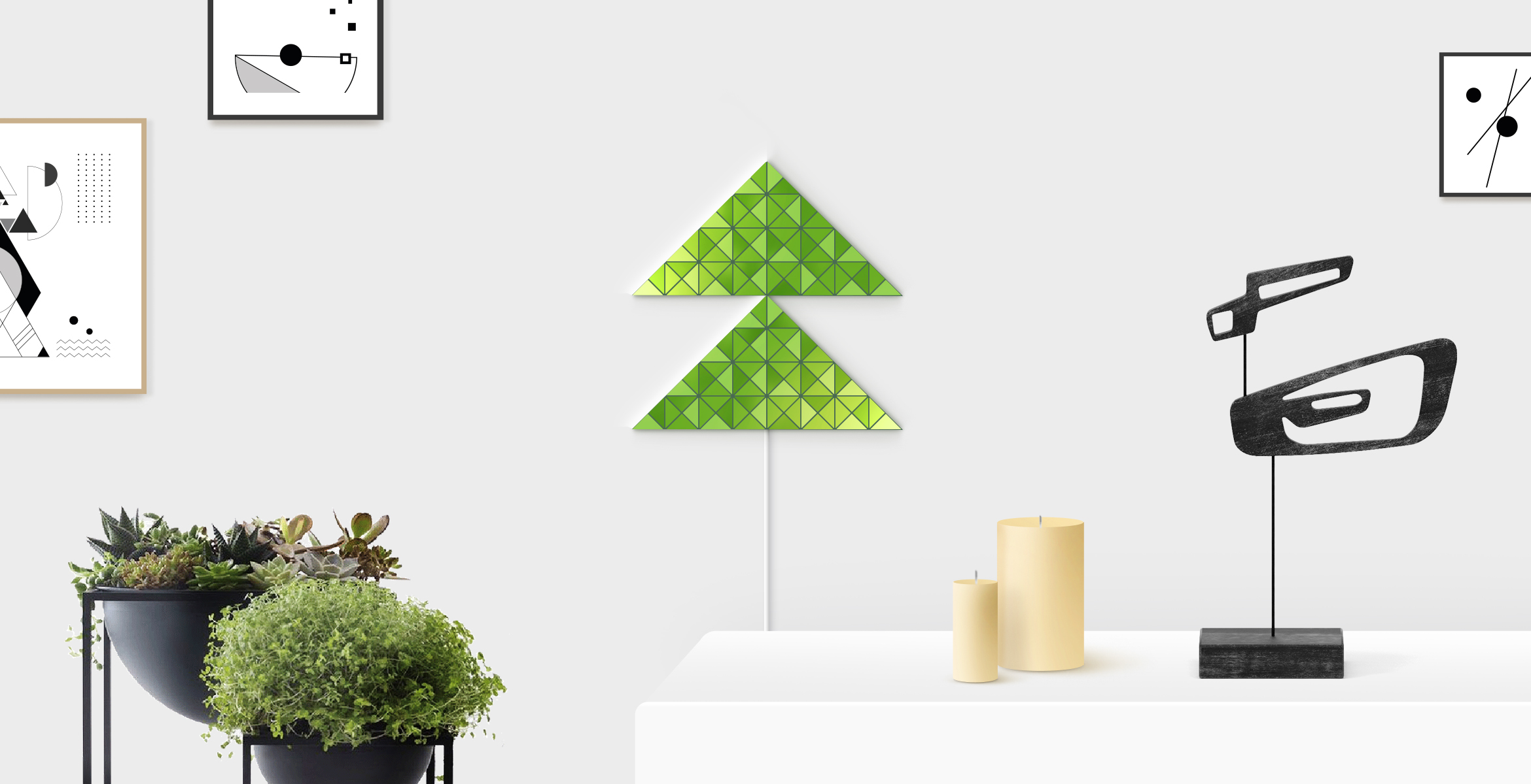 Small fir tree shape in green color, assembled from 2 LaMetric SKY smart light surfaces, placed in a stylish living room