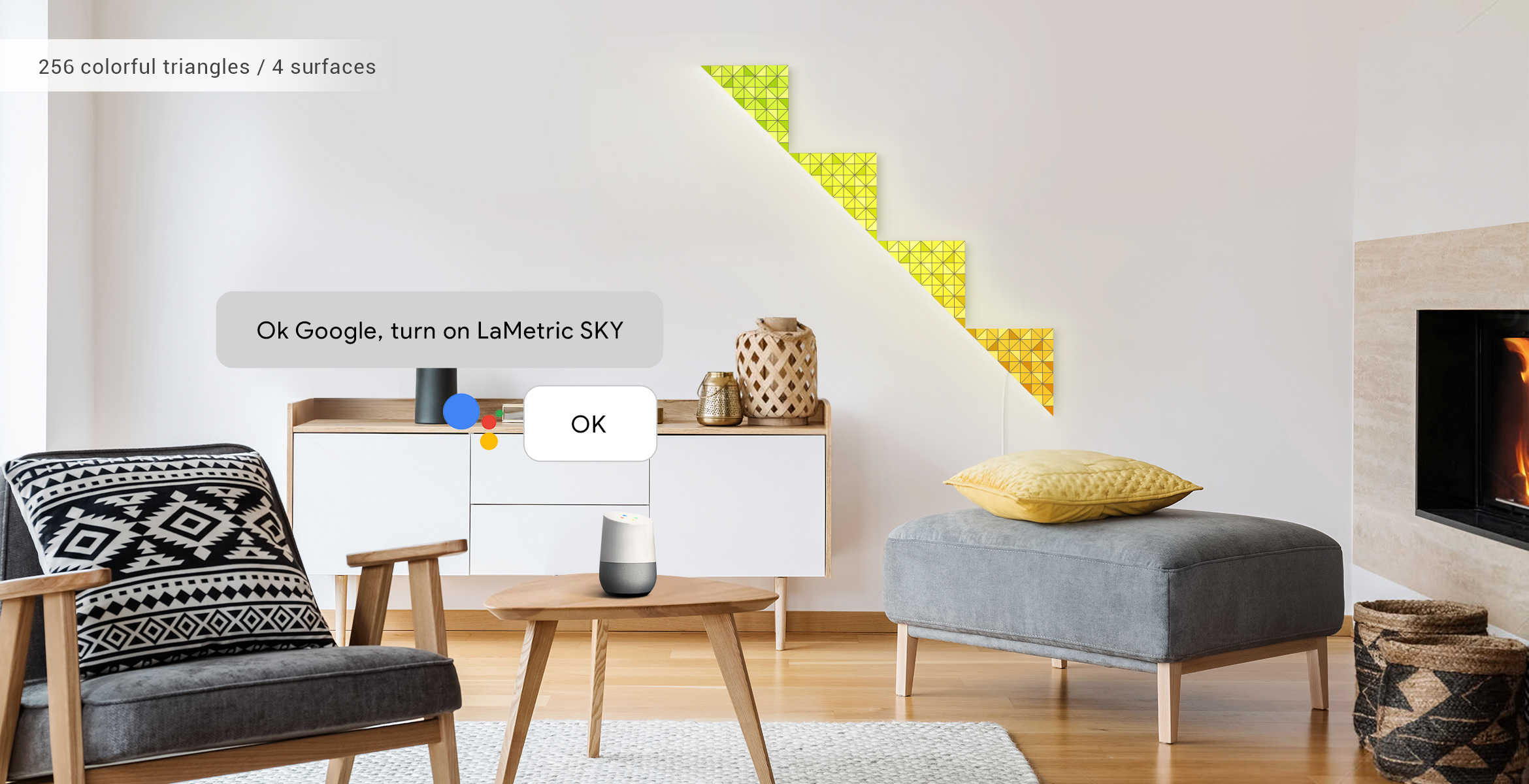 Voice control of LaMetric SKY smart light surfaces, assembled into the shape of the stairs, via Google Assistant