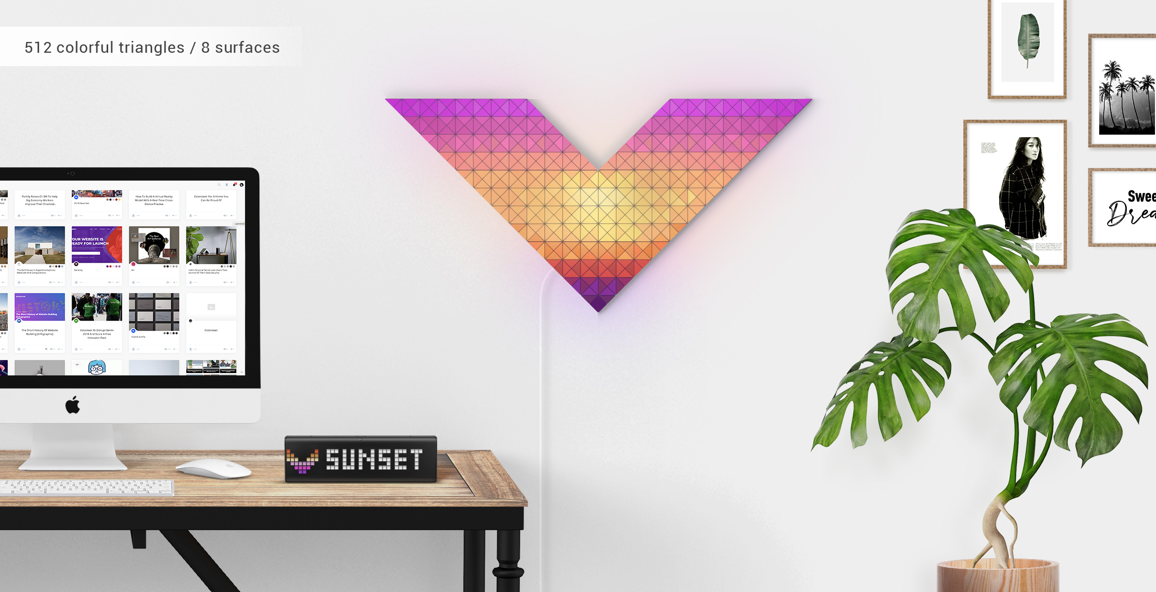Vendetta shape, assembled from 8 LaMetric SKY smart light surfaces, complements the desk setup and shows sunset light effect